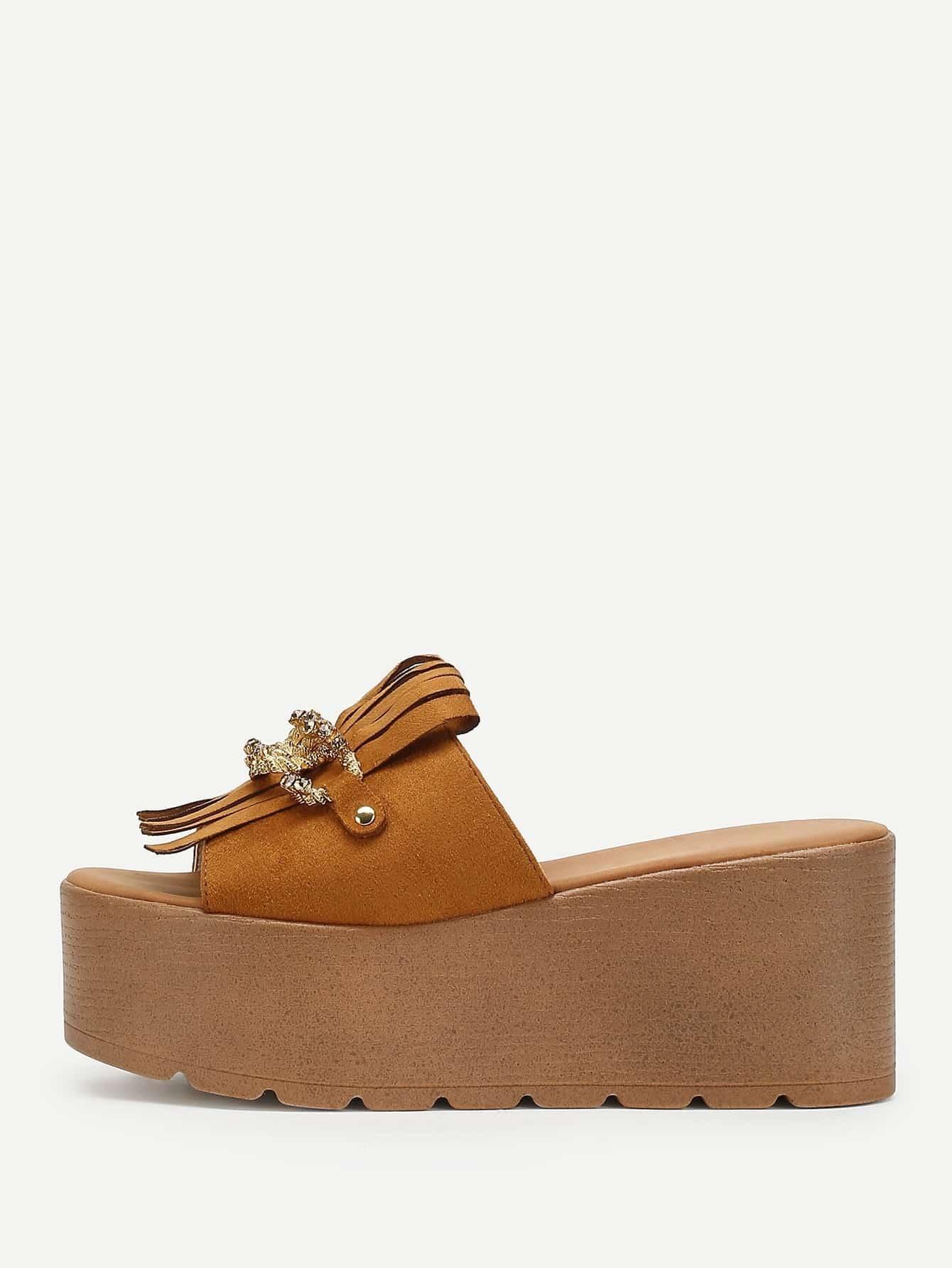 Tassel & Chain Design Wedge Sandals