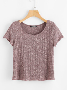 Space Dye Ribbed Knit Tee SHEIN