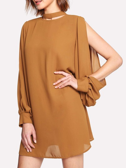 Choker Neck Split Sleeve Dress