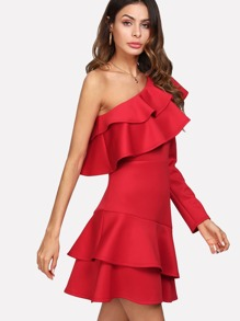 One Shoulder Tiered Ruffle Dress