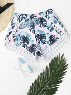Tropical Pom-pom Trim Swimming Shorts