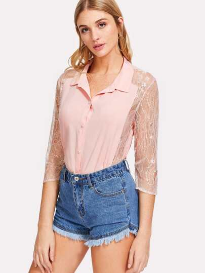 Lace Sleeve And Hem Blouse