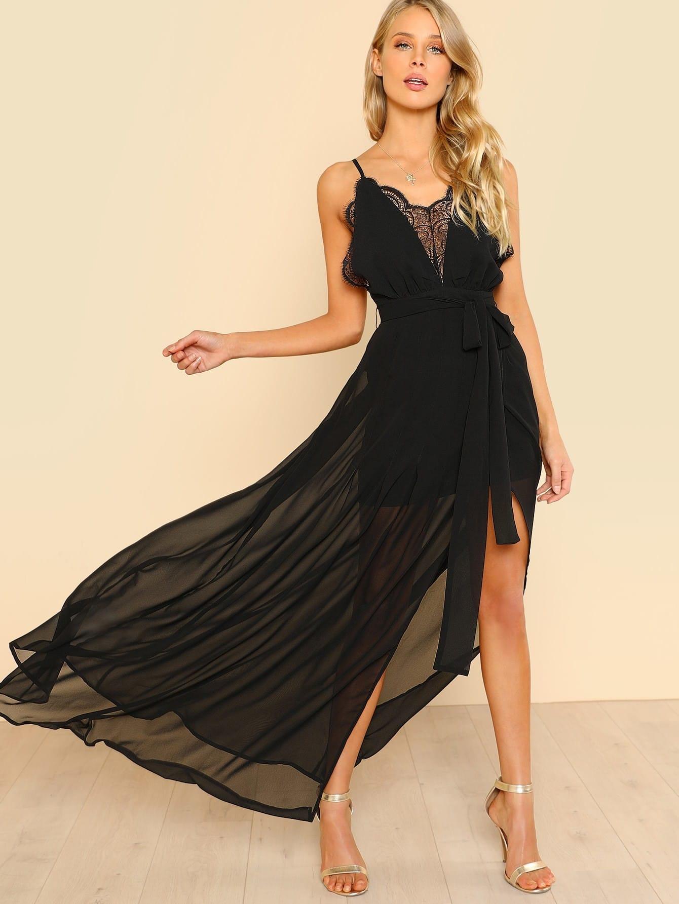 Lace Plunge Neck High Slit Cami Dress high slit lace long sheer slip dress