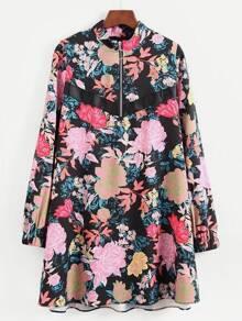 Zipper Up Calico Print Dress