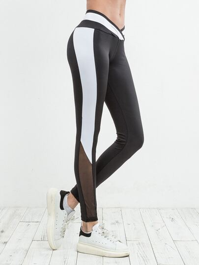 Mesh Panel Color Block Leggings
