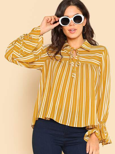 Bow Tied Neck Pleated Striped Top