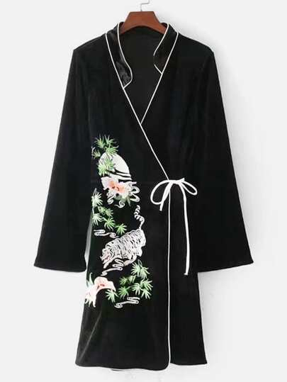 Self Tie Embroidered Velvet Kimono Dress
