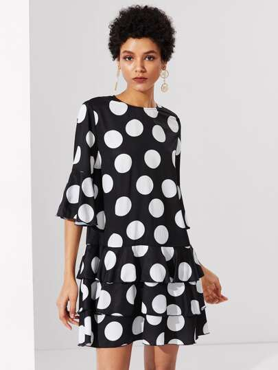 Layered Ruffle Polka Dot Dress