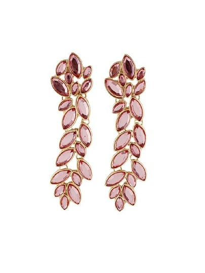 Pink Delicate Vivid Leaf Shape Long Drop Earring