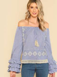 Embroidered Off The Shoulder Top With Ruffled Sleeves BLUE