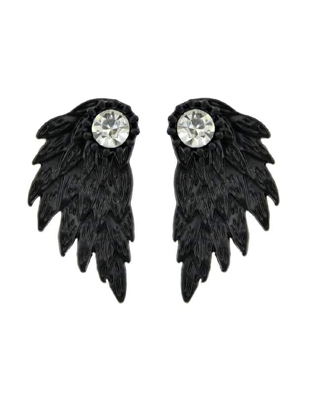 Black Vintage Angel Wings Earrings