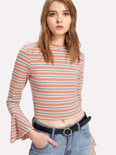 Trumpet Sleeve Rib Knit Striped Tee