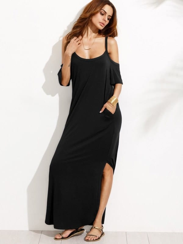Pocket Open Shoulder Split Full Length Dress pocket full length tee dress page 10