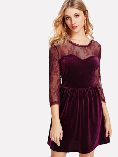 Floral Lace Sweetheart Velvet Dress