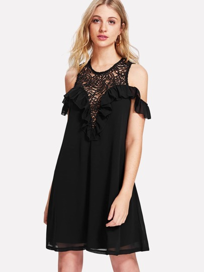 Flounce Trim Lace Plunge Sweetheart Dress