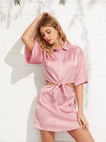 Front Knot Satin Shirt Dress