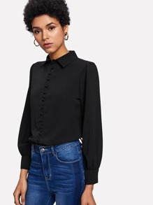 Single Breasted Pleated Detail Shirt