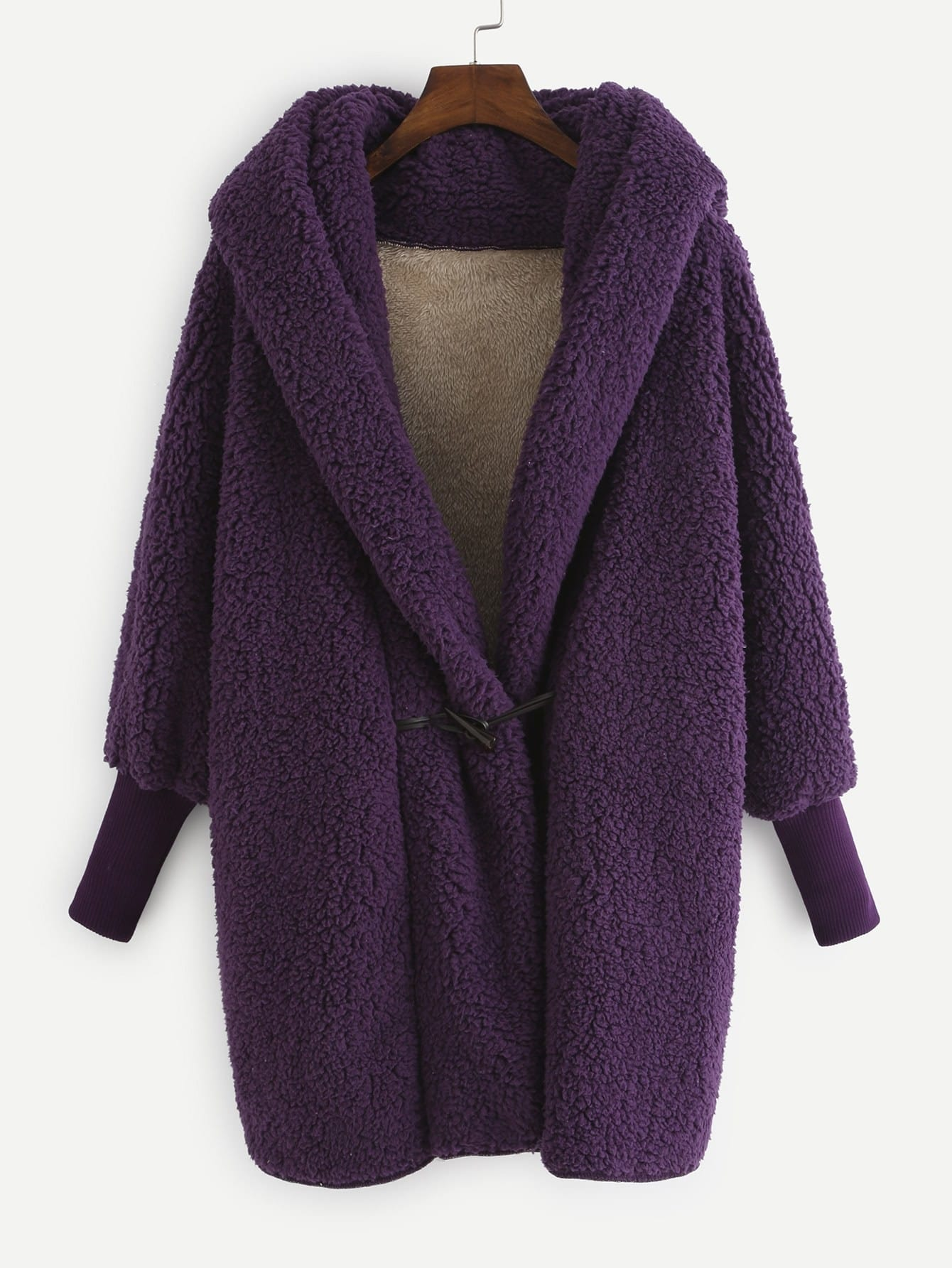 Faux Shearling Hooded Coat