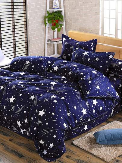 2.2m 4Pcs Galaxy Print Full Over Bed Sheet Set