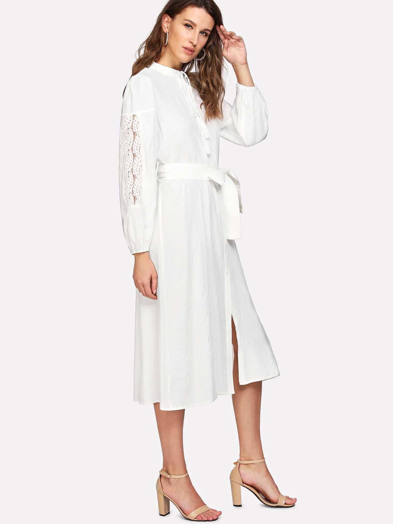Self Belted Shirt Dress self belted solid dress