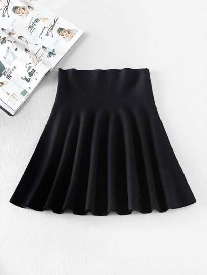 Flared Stretch Knit Skirt