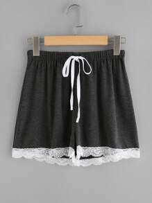Lace Hem Drawstring Shorts