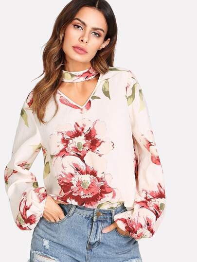 Choker Neck Bishop Sleeve Floral Top