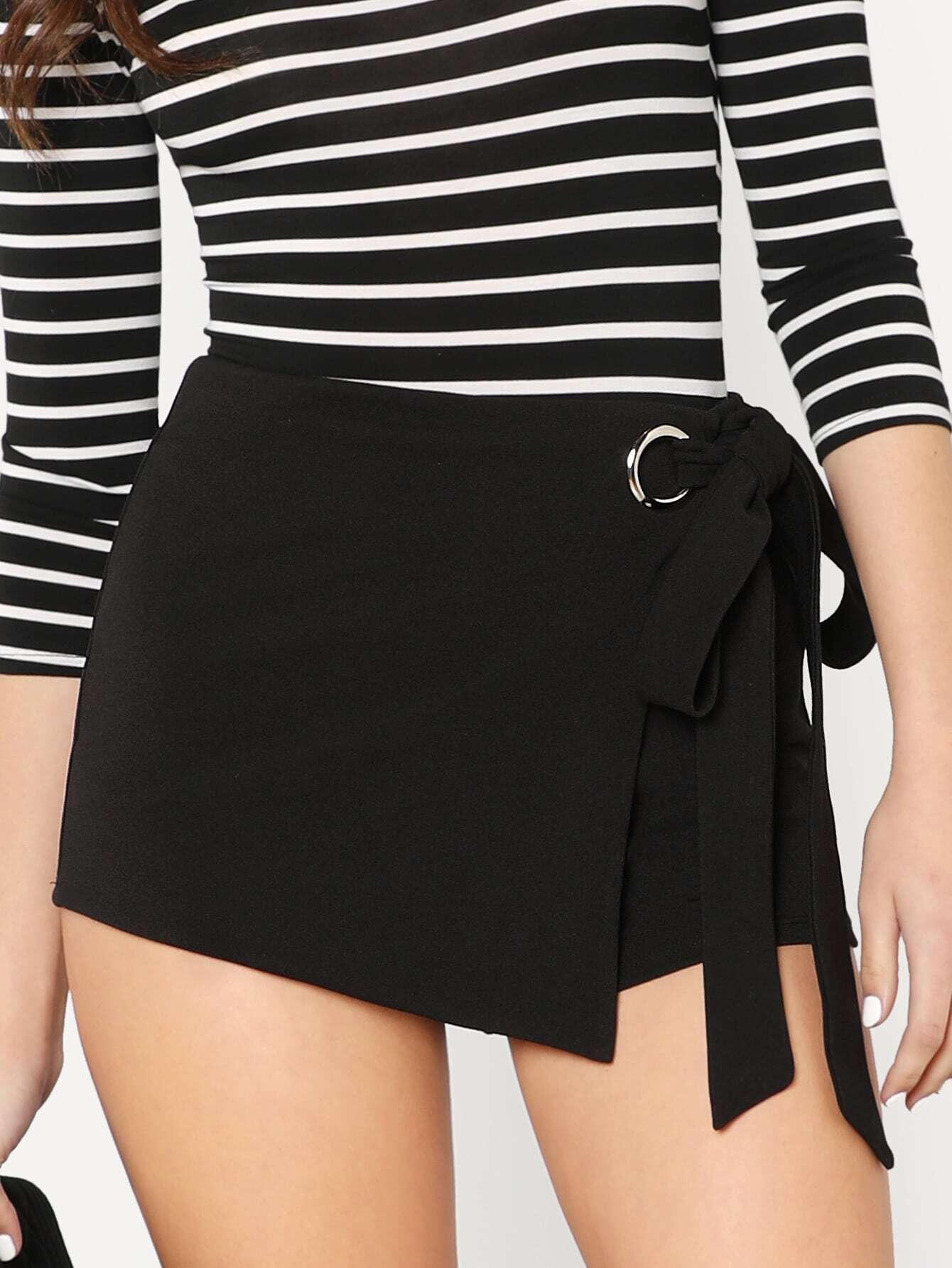Self Belted Overlap Shorts self belted boxed pleated shorts