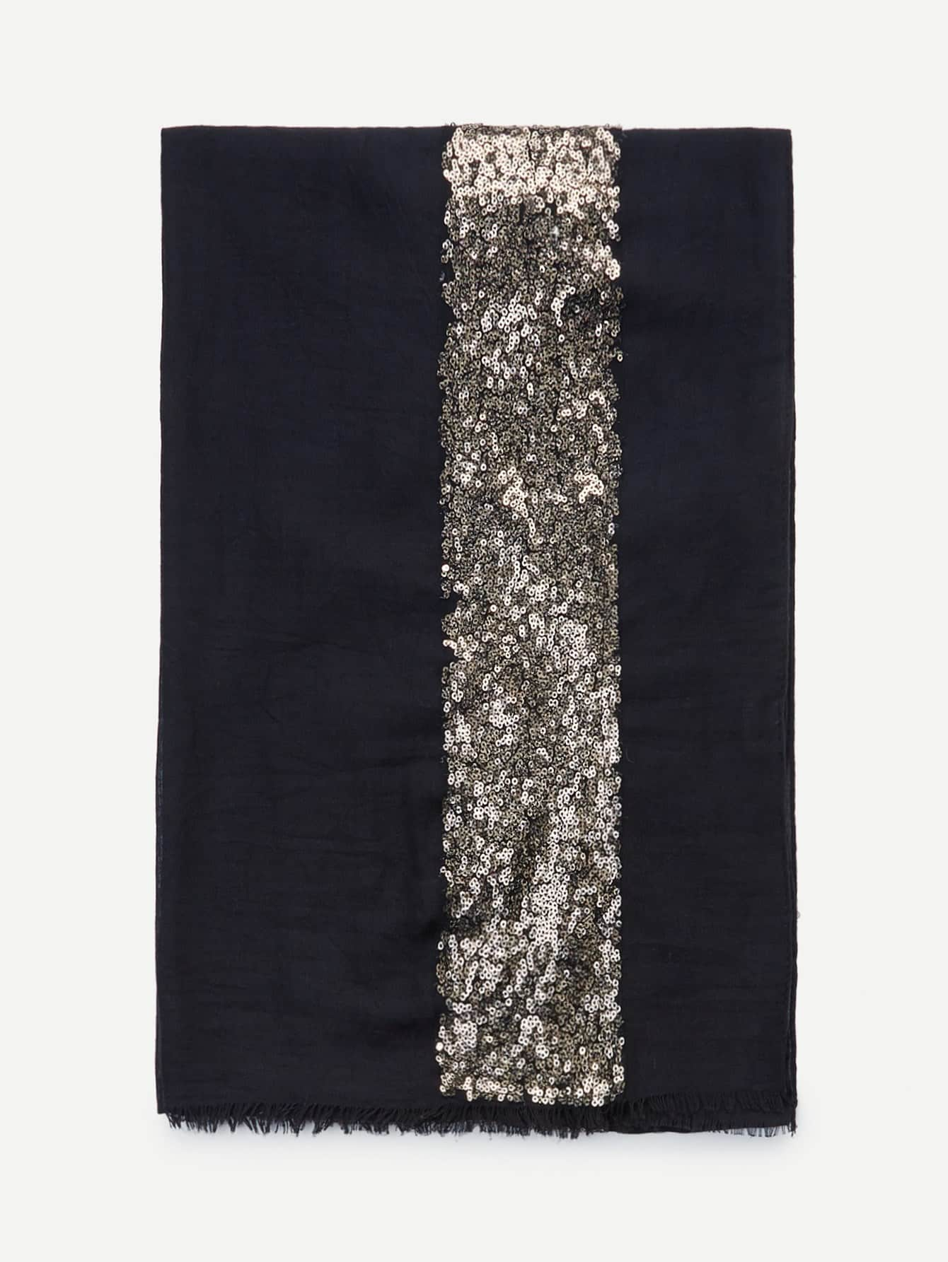 Contrast Sequin Panel Raw Edge Scarf scarf180125305