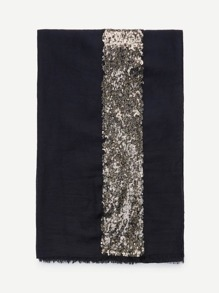 Contrast Sequin Panel Raw Edge Scarf ROMWE