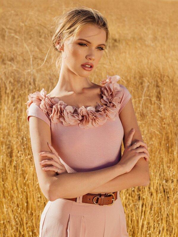 Flower Applique Off Shoulder Bodysuit, Allie Leggett