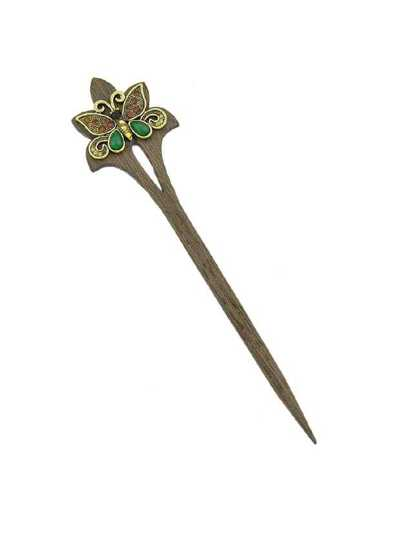 Coffee Retro Butterfly Wood Hairpin