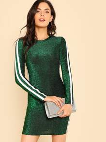 Striped Side Form Fitting Glitter Dress