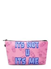 Letter Print Makeup Bag