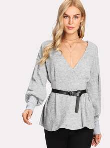 Surplice Neckline Heathered Knit Jumper With Belt