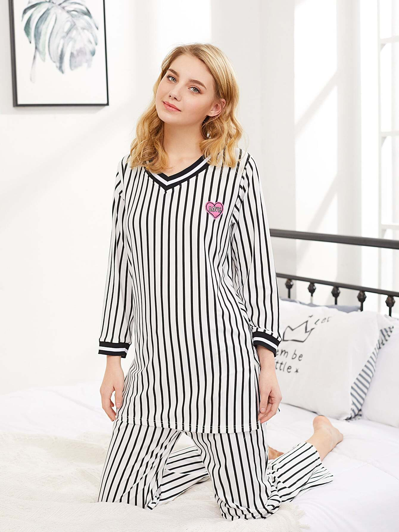 Vertical Striped Top & Pants PJ Set vertical striped bedding set