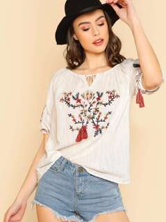 Floral Embroidery Top With Elastic Neckline And Tassel Details IVORY