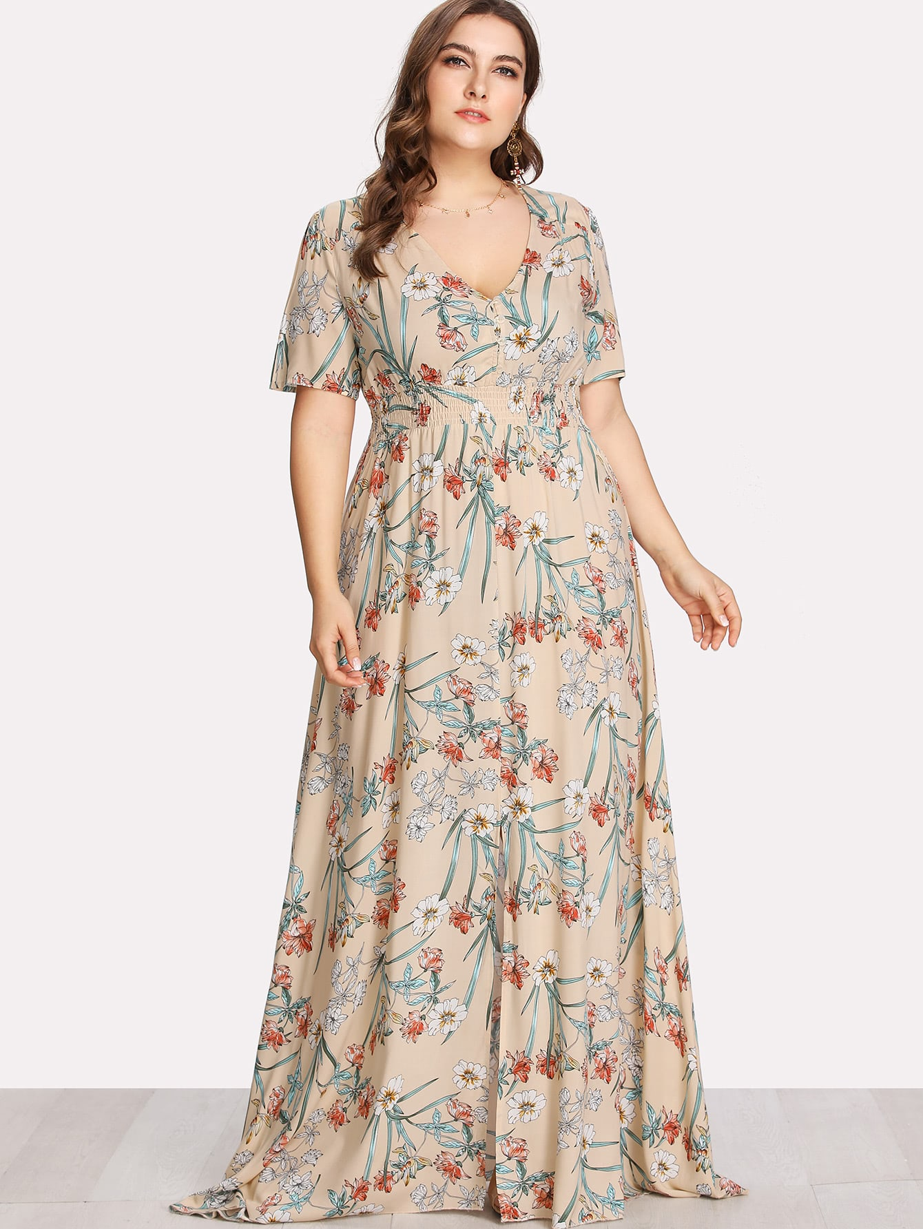 Plus Button Up Front Botanical Print Dress пуговицы декоративные dress it up цветное колесо 50 шт 7702398