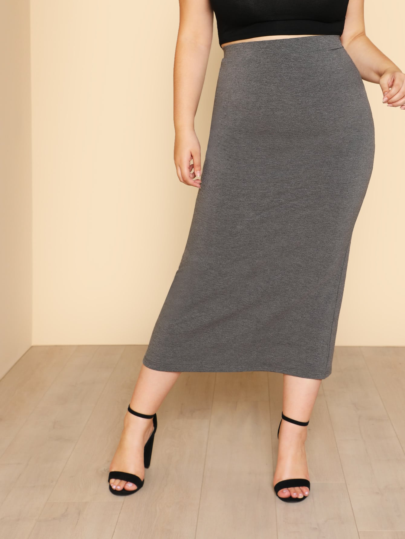 Plus Solid Knit Column Skirt solid ruched knit skirt