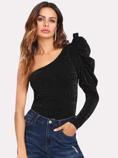 Ruffle Trim One Shoulder Bodysuit