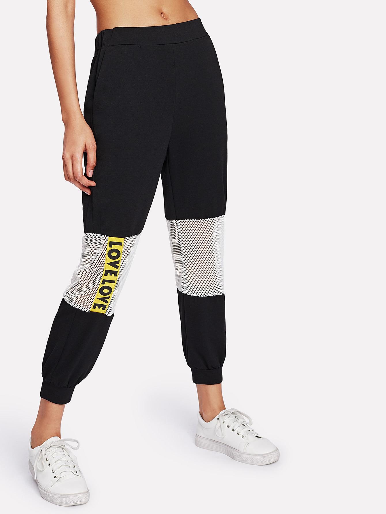 Купить Модные брюки с сетчатой вставкой, Ana, SheIn