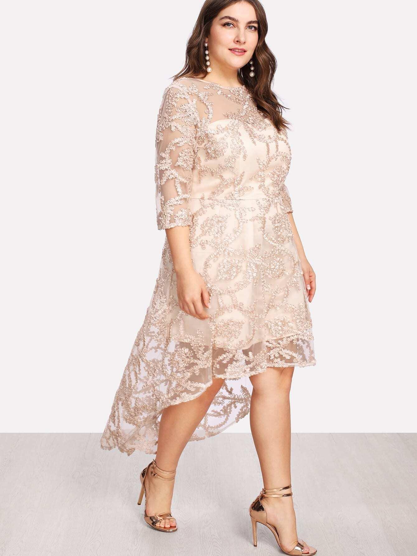 Applique Mesh Overlay Dip Hem Dress applique mesh overlay fit