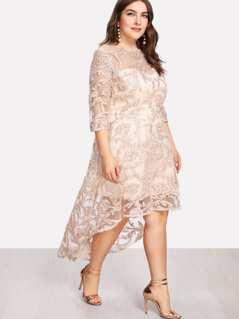 Plus Applique Mesh Overlay Dip Hem Dress