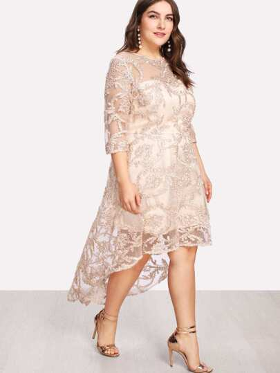 Applique Mesh Overlay Dip Hem Dress