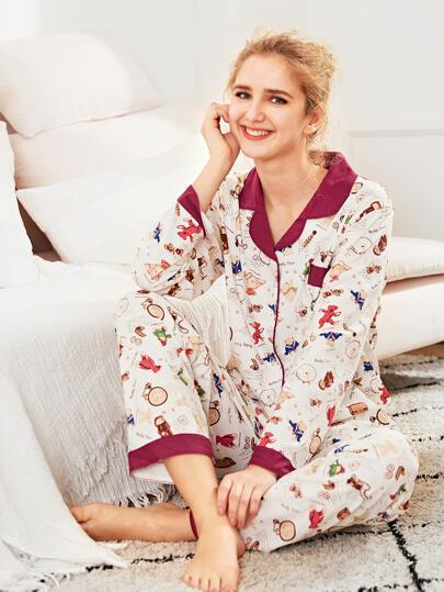 Contrast Trim Bear Print Shirt & Pants PJ Set
