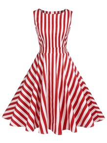 Contrast Stripe Pleated Dress