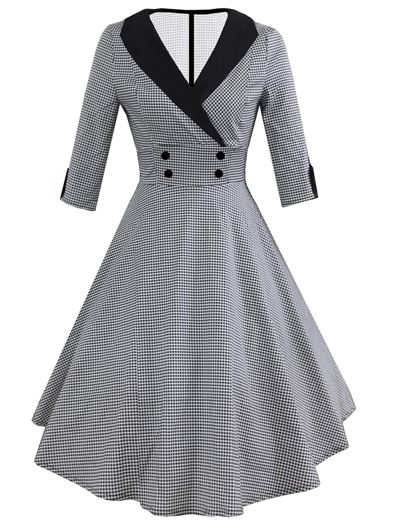 Contrast Collar Houndstooth Circle Dress