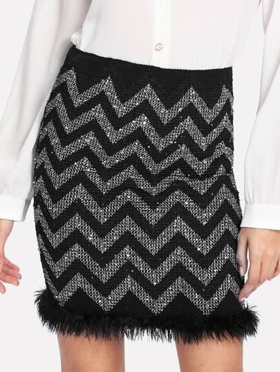 Chevron Stripe Feather Hem Skirt