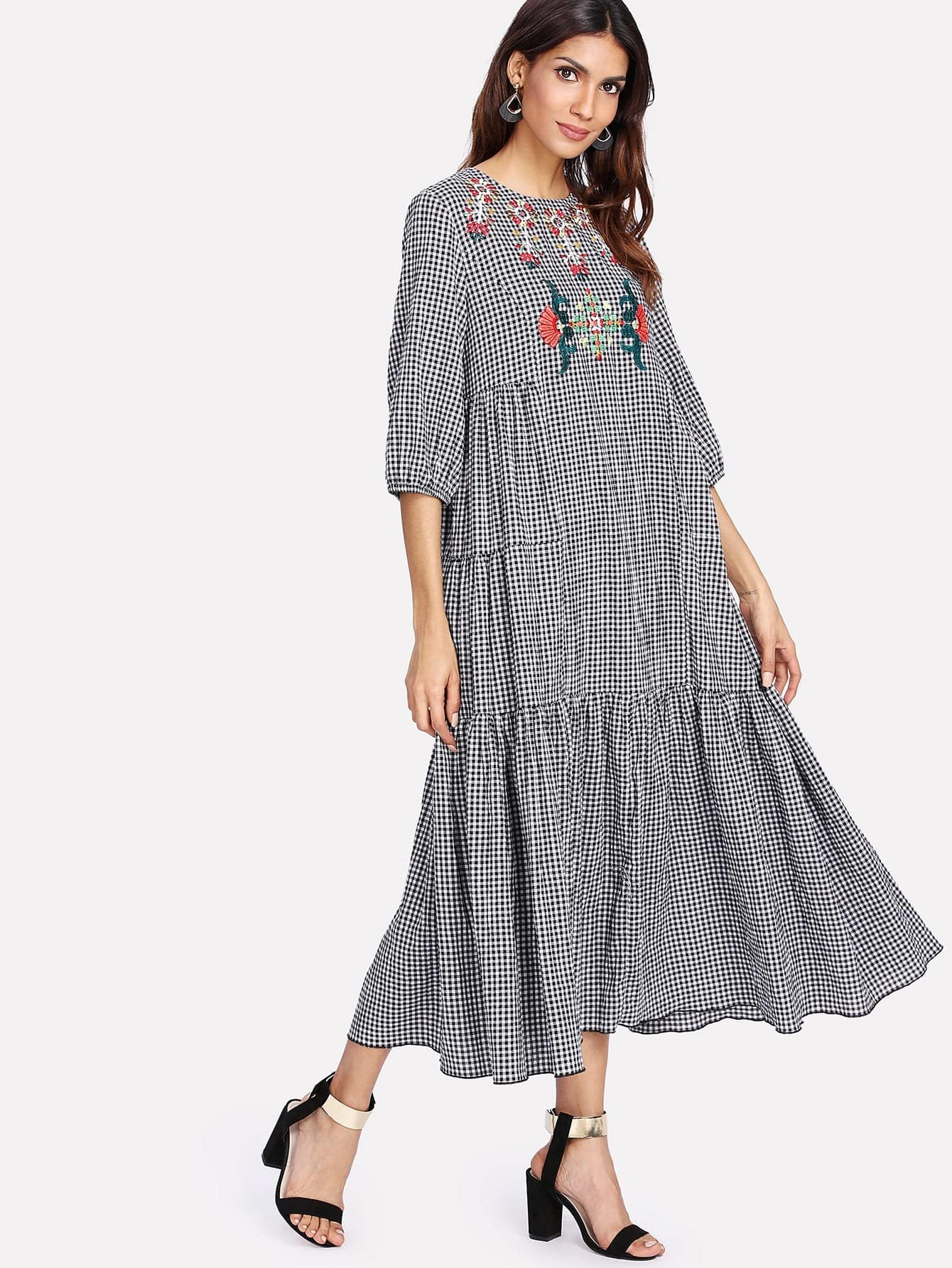 Symmetric Embroidered Tiered Gingham Hijab Long Dress collared wrap front gingham tiered dress