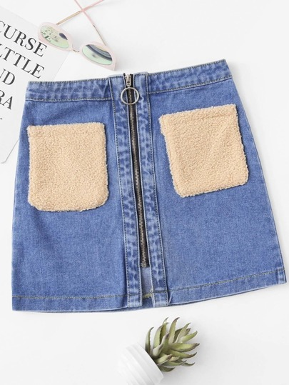 Faux Shearling Contrast O-Ring Zip Denim Skirt
